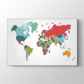 Renk Parçalarından Dünya Tablosu - Kanvas Tablo
