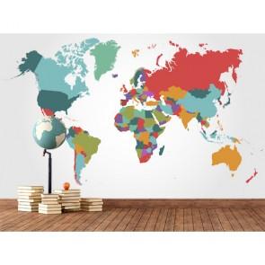 Renk Parçalarından Dünya - Harita Duvar Kağıdı Modeli