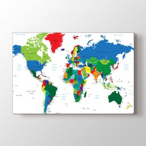 Ofis İçin Dünya Haritası Tablosu - Kanvas Tablo
