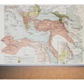 1878 Dönemi Osmanlı Devleti Haritası Duvar Kağıdı Modeli Uygulama