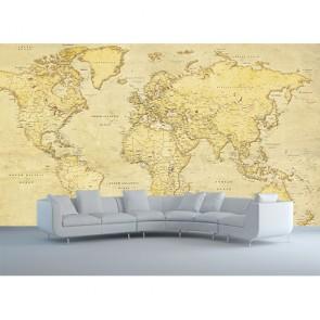 Antik Dünya Haritası Görseli - Resimli Duvar Kağıdı Modeli