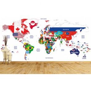 Bayraklardan Dünya Haritası 3 Boyutlu Duvar Kağıdı Modeli Uygulama