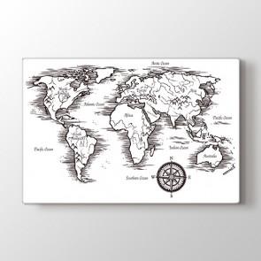 Dağlık Bölgeler Haritası Tablosu - Kanvas Tablo