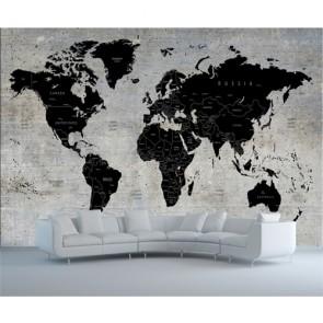 Beton Duvarda Dünya Haritası - 3D Salon İçin Duvar Kağıdı Uygulama
