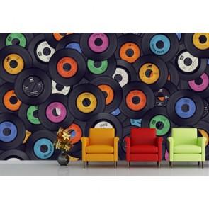 Plak Dekorasyonu Müzik ile İlgili Duvar Kağıdı Modeli