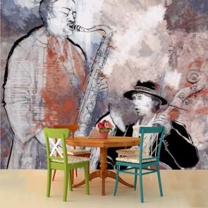 Jazz Müziğin Temelleri Müzisyen ve Müzik Duvar Kağıdı Modeli