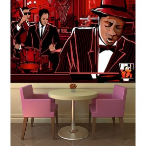 Jazz Bar Müzik Temalı Duvar Kağıdı Modeli