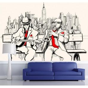 Sokakta Blues Müzik ve Jazz Duvar Kağıdı Modeli