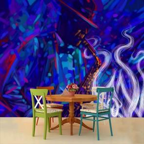 Jazz Temalı Sanat - Müzik ve Blues Duvar Kağıdı Modeli