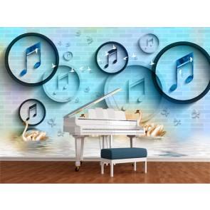 Kuğular ve Müzik - 3D Duvar Kağıdı Uygulama