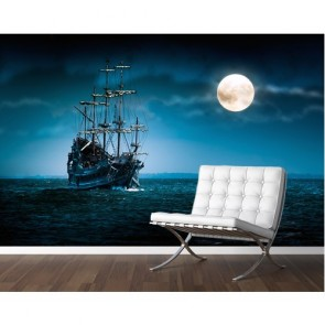 Korsan Gemisi 3 Boyutlu Duvar Kağıdı
