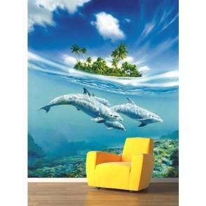Özgür Yunuslar 3 Boyutlu Deniz Manzaralı Duvar Kağıdı Önizleme
