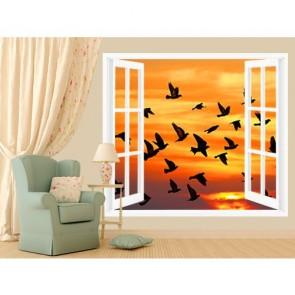 Penceredeki Kuşlar Duvar Kağıdı Önizleme