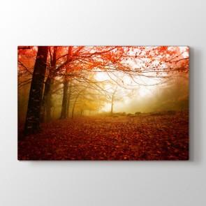 Sonbahar Kırmızısı - Doğa Manzara Duvar Tablosu