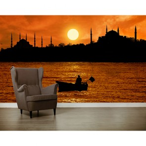 İstanbul Silüeti  - Resimli İthal Duvar Kağıtları