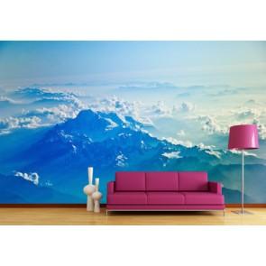 Bulut ve Dağ 3 Boyutlu Duvar Kağıdı