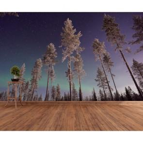 Gökyüzüne Değen Ağaçlar 3 Boyutlu Duvar Kağıdı