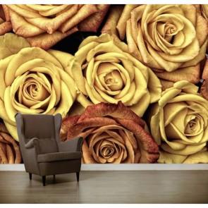 Sarı Güller 3 Boyutlu Duvar Kağıdı