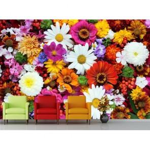 Çeşit Çeşit Çiçekler 3 Boyutlu Manzara Duvar Kağıdı