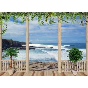 Terastan Deniz 3 Boyutlu Manzaralı Duvar Kağıdı