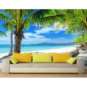 Palmiye ve Gölgesi 3 Boyutlu Manzara Duvar Kağıdı Modeli