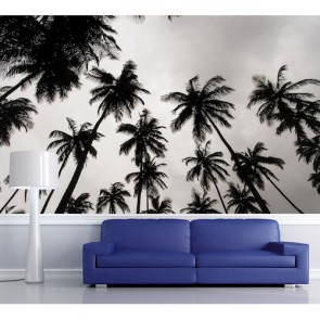 Siyah Beyaz Palmiyeler Manzara Duvar Kağıdı Modeli