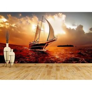 Tekneden Gün Batımı 3D Duvar Kağıdı