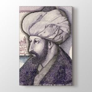 Fatih Sultan Mehmet Portresi - Osmanlı Kanvas Tablosu