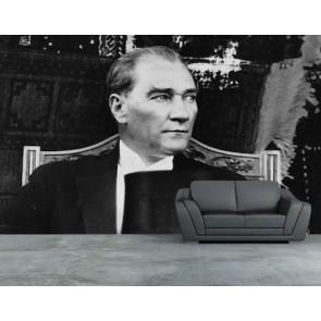 Nostaljik Atatürk Resmi 3 Boyutlu Resimli Duvar Kağıdı