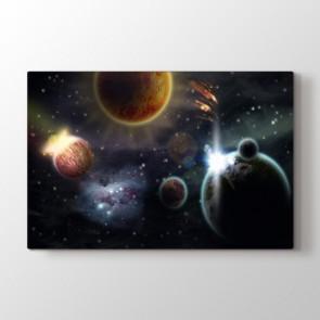 Galaksi Sistemi - Modern Duvar Dekor Kanvas Tablo