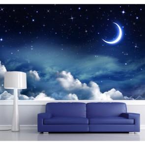 Ay ve Bulutlar Gökyüzü ve Uzay Duvar Kağıdı Modeli