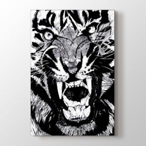 Vahşi Bakış - Siyah Beyaz Resimli Kanvas Tablo Modeli