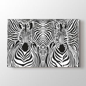 Zebra Çizgileri - Siyah Beyaz Resimli Tablo Modeli