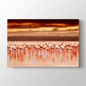 Pelikan Sürüsü - Vahşi Yaşam Duvar Dekoru Kanvas Tablo