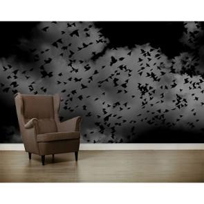 Kara Kuşlar 3 Boyutlu Duvar Kağıdı
