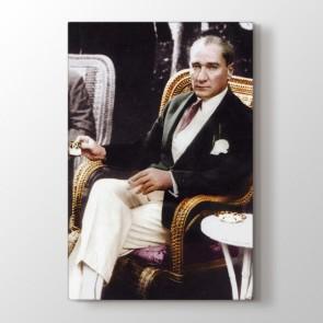 Atatürk Kahve Keyfi Tablosu | Atatürk Kanvas Tablo Modeli