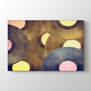 Eski Plaklar Tablosu | Müzik Temalı Tablolar - duvargiydir.com
