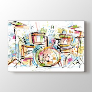 Renkli Davul Tablosu | Müzik ve Enstrüman Tabloları - duvargiydir.com